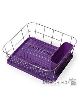 Сушилка для посуды Kamille 0763C с поддоном 37*33*13,5 см фиолетовая