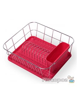 Сушилка для посуды Kamille 0763B с поддоном 37*33*13,5 см красная