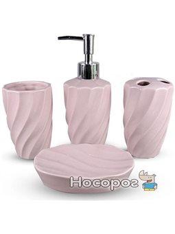 Набір аксесуарів Pure для ванної кімнати 4 предмети рожевий кераміка (psg_ST-888-139)