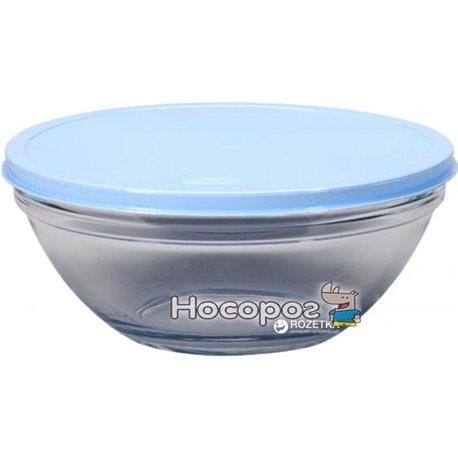 Фото Салатник круглый Pasabahce Chef's с голубой крышкой 23 см (53583 ПУ)