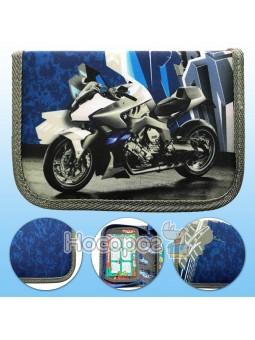 """Пенал текстильный, 20*13,5*3 см """"Мотоцикл синий"""" Leader 930400"""
