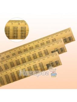 Лінійка дерев'яна 15 см з таблицею множення