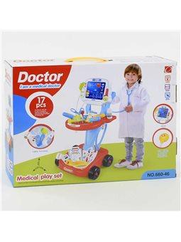 Набор доктора 660-46 (12) с тележкой, свет, звук, в коробке