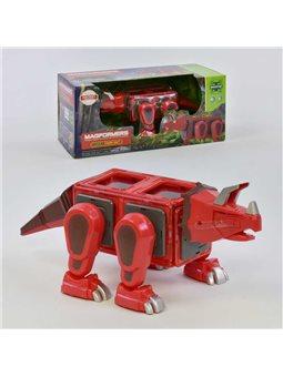 Конструктор магнитный LQ 623 (16/2) Динозавр, 18 деталей, свет, звук, в коробке