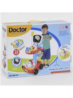 Набор доктора в тележке 660-44 Рентген (12) световые и звуковые эффекты, в коробке