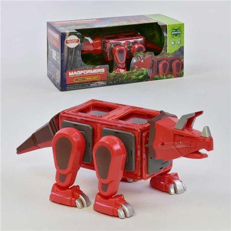 Фото Конструктор магнитный LQ 623 (16/2) Динозавр, 18 деталей, свет, звук, в коробке