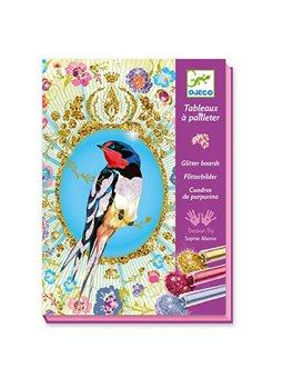 """DJECO Художественный комплект рисование блестками """"Птицы с блестками"""""""