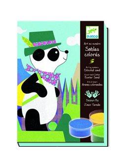 DJECO Художественный комплект рисование цветным песком Панда и его друзья