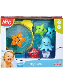 """Набір іграшок для ванни """"Розваги"""" з сачком, морською зіркою та восьминогом, 5 аксес., 16 см, 12 міс."""