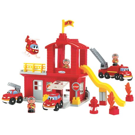 """Фото Конструктор """"Пожарная станция с часовой башней и вертолетом"""" с фигурками, 18 мес. +"""