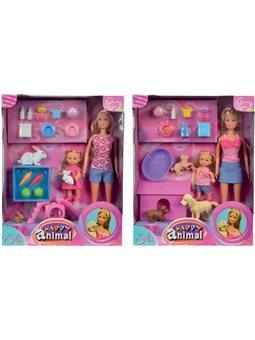 Куклы Штеффи и Эви с животными, 2 вида, 3