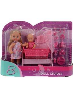 Кукольный набор Эви с малышом в кроватке, 2 вида, 3