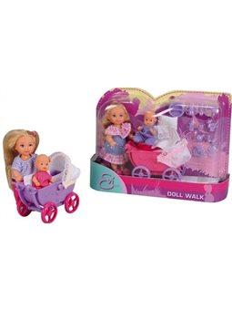 Кукла Эви с малышом в коляске, 2 вида, 3