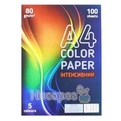 Папір ксероксний кольоровий Color Paper 80гр. інтенсив 100 арк, 5 кольорів Зибнєв