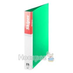 Папка пластиковая 4 кольца Skiper SK-649, 25мм, зеленая 410947