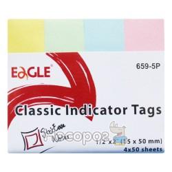 Папір для нотаток з липким шаром Eagle 654-5Р асорті, 15*50мм, 4шт*50арк.