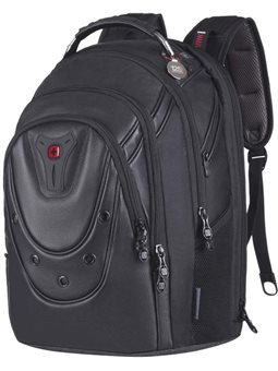 """Рюкзак з відділенням для ноутбука, Wenger Ibex 125th 17"""" Black Leather, шкіра, чорний. [605499]"""