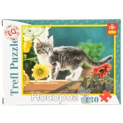 """82004 Пазл """"130 ел."""" - Котёнок в цветах/Фото"""