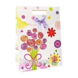 """Пакет подарунковий A+ BL-FG-L017 паперовий на липучці """"Букет"""", 24*32*10,5см. (12)"""