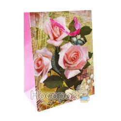 """Пакет подарунковий A+ ZY-S-1604-M паперовий з глітером """"Квіти"""", 18*23*10см. (12)"""