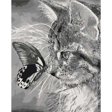 Фото Котенок и бабочка КН2499