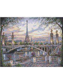 """Набір для розпису по номерах. Міський пейзаж """"Дивовижний Париж"""" 40х50см. КНО1148"""