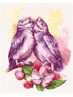 Картина по номерам Милые совушки КНО4034