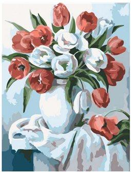 """Набір для розпису по номерах. Букети """"Букет яскравих тюльпанів"""" 30х40см КНО2046"""