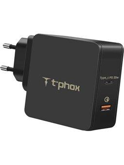 Зарядное устройство T-PHOX 48W Fast Charge-TYPE-C PD 30W + QC3.0 18W Black 6440513