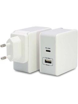 Зарядное устройство T-PHOX 57W Fast Charge - TYPE-C PD 45W + USB 12W White 6440516