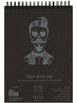 Альбом для рисунка на спирали AUTHENTIC (black) А5, 165г/м2, 20л, черная бумага, SMILTAINIS 5EB-20TS/BLACK