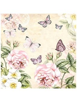 """Декупажные салфетки """"Цветы и бабочки"""", кремовые, 33*33 см, 18,5 г/м2, 20 шт, Ambiente 13309196"""