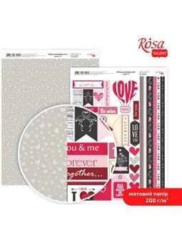 """Дизайнерський папір двостороння матова """"Love"""" 8, 21х29,7 см, 200 г / м2, ROSA TALENT 5318056"""