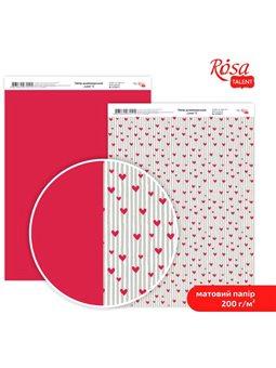 """Дизайнерський папір двостороння матова """"Love"""" 5, 21х29,7 см, 200 г / м2, ROSA TALENT 5318053"""