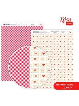 """Дизайнерський папір двостороння матова """"Love"""" 3, 21х29,7 см, 200 г / м2, ROSA TALENT 5318051"""