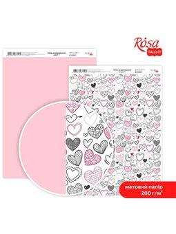 """Дизайнерський папір двостороння матова """"Love"""" 1, 21х29,7 см, 200 г / м2, ROSA TALENT 5318049"""