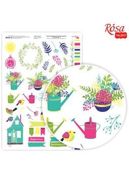 """Бумага дизайнерская односторонняя """"Floral garden"""" 9, 21х29,7 см, глянцевая, 250 г/м2, ROSA TALENT 5311126"""