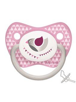 Canpol babies Пустышка силиконовая анатомическая 0-6 м-цев Let's Celebrate - розовая [23/279_pin]