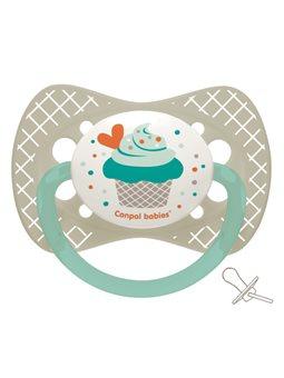Canpol babies Пустышка силиконовая симметричная 0-6 м-цев Cupcake - серая [23/282_grey]