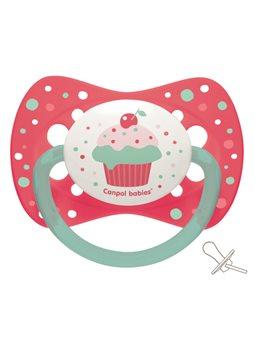 Canpol babies Пустышка силиконовая симметричная 0-6 м-цев Cupcake - розовая [23/282_pin]