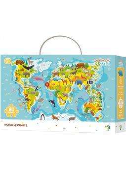 Пазл DoDo Карта Світу - Звірятка 80 елементів [300133]
