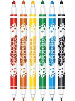 Фломастери двосторонні Colorino Fibre Pens 6 шт і 6 кольорів [13437PTR/1]