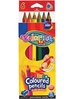 Карандаши цветные Colorino Jumbo 17.5 см с точилки 6 цветов [15516PTR / 1]