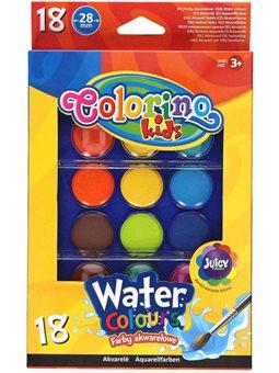 Краски акварельные большие таблетки Colorino 18 цветов [54737PTR]