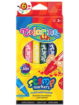 Фломастери Colorino 6 кольорів двосторонні зі штампиком [36122PTR]
