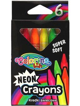 Карандаши восковые треугольные Colorino 6 неоновых цветов [92050PTR]