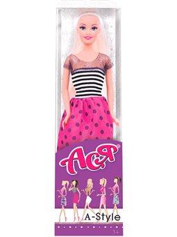 Кукла Ася А-стиль блондинка платье в полоску 28 см [35127]