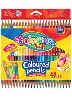 Карандаши цветные треугольные Colorino двусторонние 24 шт и 48 цвета [51705PTR]