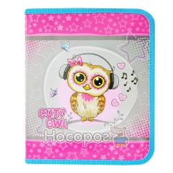 Папка детская Cute little owl 7377 Kidis В5 для тетрадей, картонная на замке