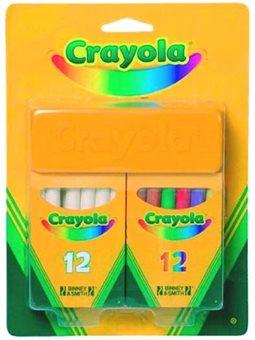 Мелки белые и цветные с губкой (24 шт), Crayola [98268]